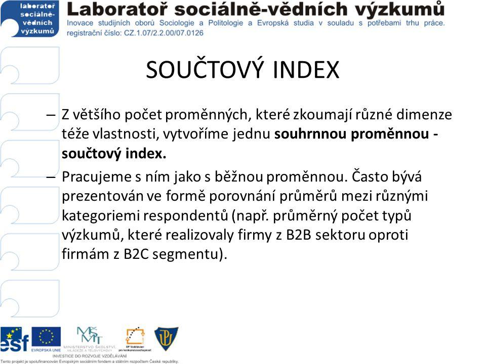 SOUČTOVÝ INDEX – Z většího počet proměnných, které zkoumají různé dimenze téže vlastnosti, vytvoříme jednu souhrnnou proměnnou - součtový index. – Pra