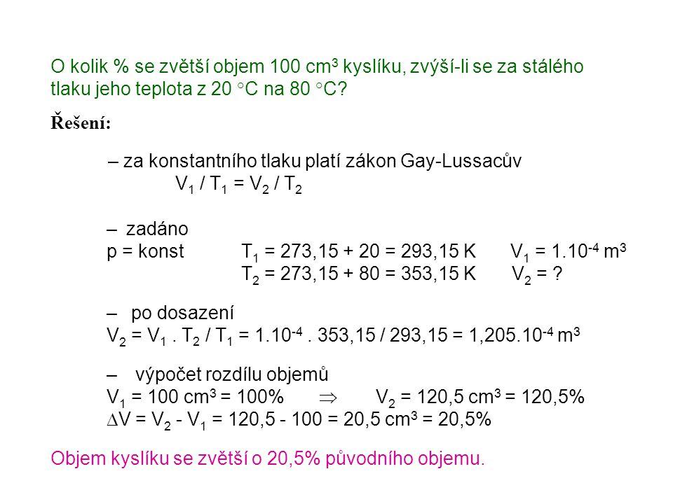 O kolik % se zvětší objem 100 cm 3 kyslíku, zvýší-li se za stálého tlaku jeho teplota z 20 °C na 80 °C? – za konstantního tlaku platí zákon Gay-Lussac