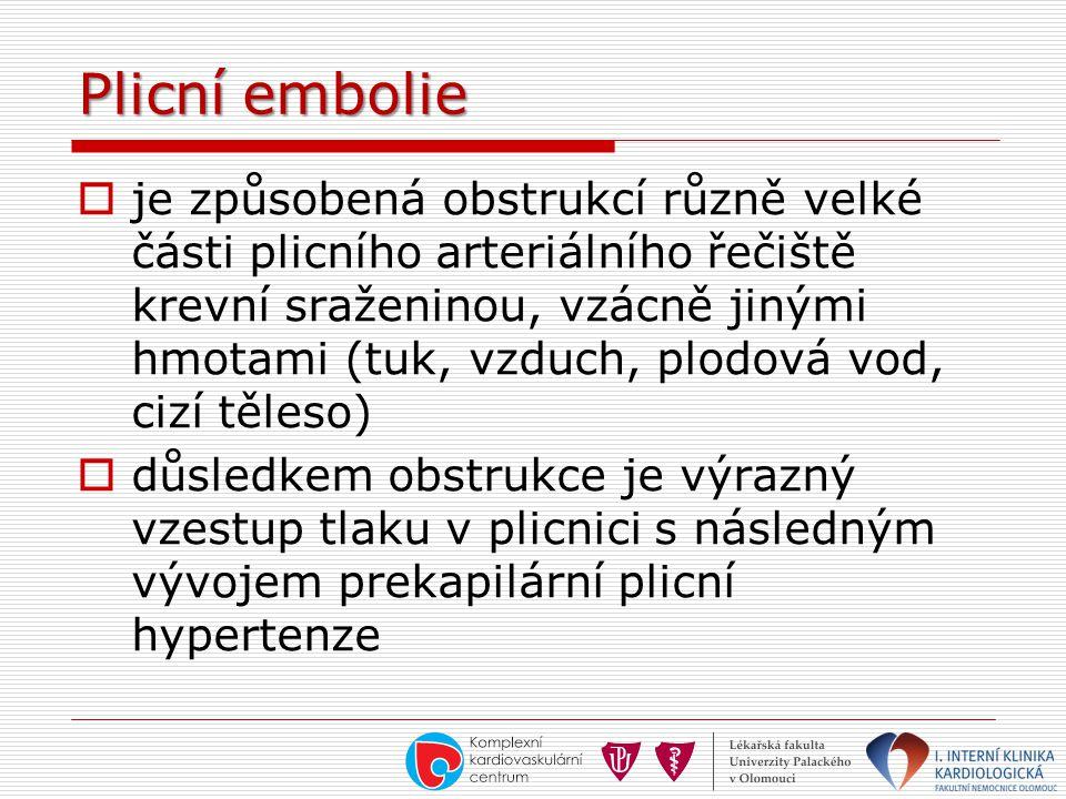 Plicní embolie  je způsobená obstrukcí různě velké části plicního arteriálního řečiště krevní sraženinou, vzácně jinými hmotami (tuk, vzduch, plodová