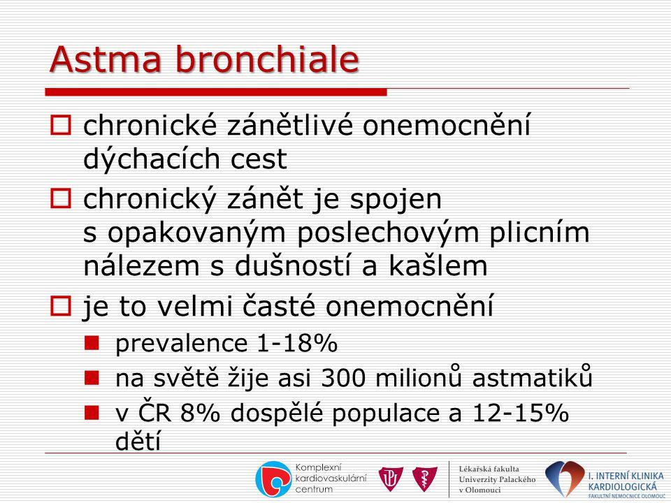 Astma bronchiale  chronické zánětlivé onemocnění dýchacích cest  chronický zánět je spojen s opakovaným poslechovým plicním nálezem s dušností a kaš