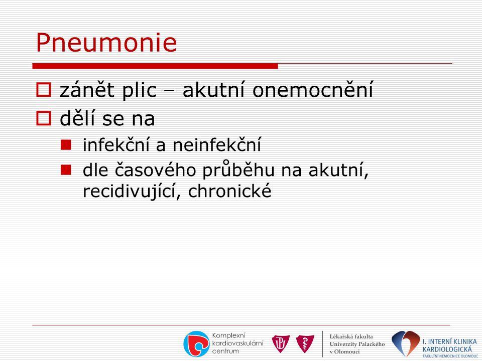 Pneumonie  zánět plic – akutní onemocnění  dělí se na  infekční a neinfekční  dle časového průběhu na akutní, recidivující, chronické