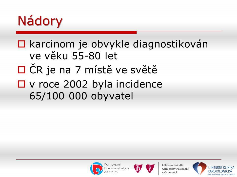 Nádory  karcinom je obvykle diagnostikován ve věku 55-80 let  ČR je na 7 místě ve světě  v roce 2002 byla incidence 65/100 000 obyvatel