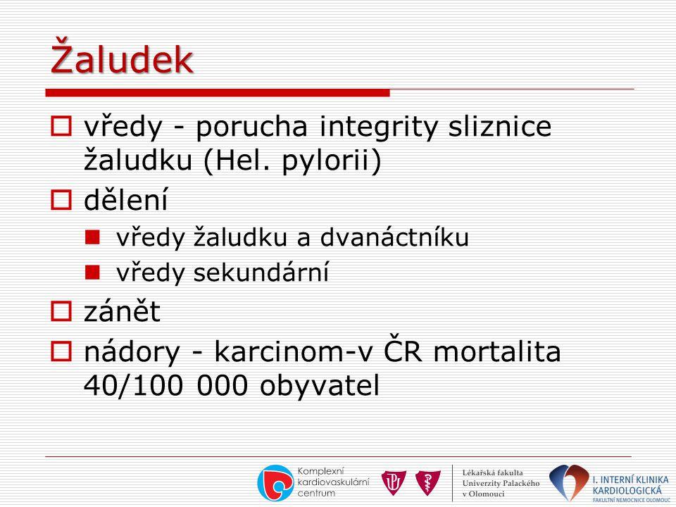 Žaludek  vředy - porucha integrity sliznice žaludku (Hel. pylorii)  dělení  vředy žaludku a dvanáctníku  vředy sekundární  zánět  nádory - karci