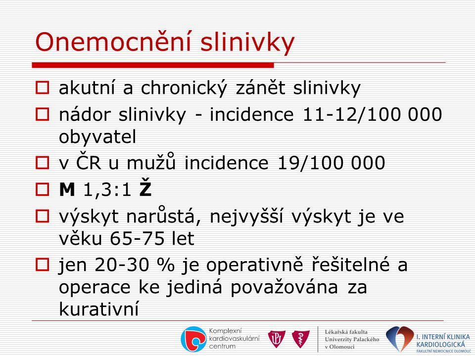 Onemocnění slinivky  akutní a chronický zánět slinivky  nádor slinivky - incidence 11-12/100 000 obyvatel  v ČR u mužů incidence 19/100 000  M 1,3