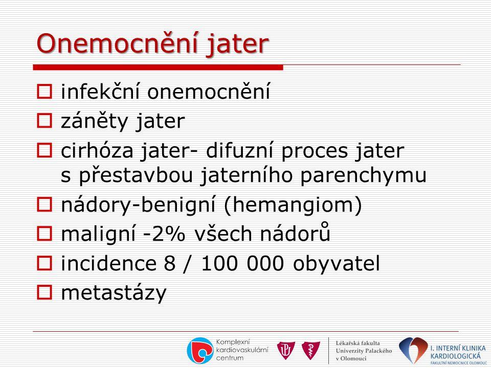 Onemocnění jater  infekční onemocnění  záněty jater  cirhóza jater- difuzní proces jater s přestavbou jaterního parenchymu  nádory-benigní (hemang