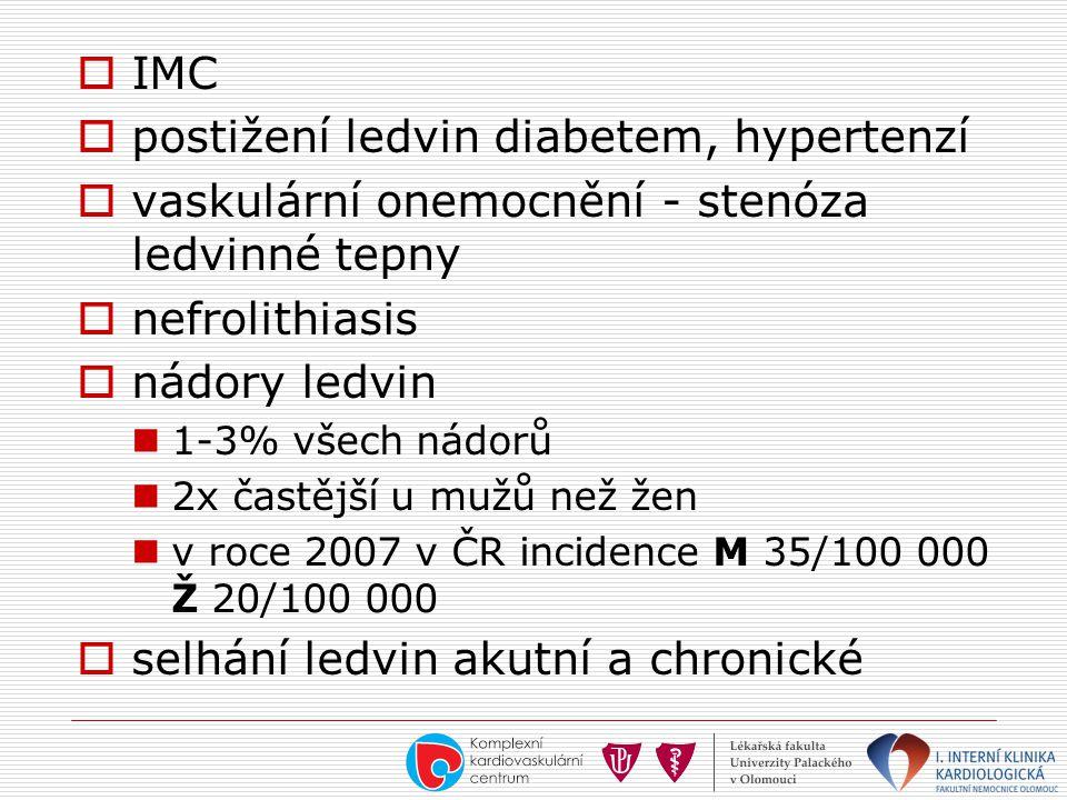  IMC  postižení ledvin diabetem, hypertenzí  vaskulární onemocnění - stenóza ledvinné tepny  nefrolithiasis  nádory ledvin  1-3% všech nádorů 