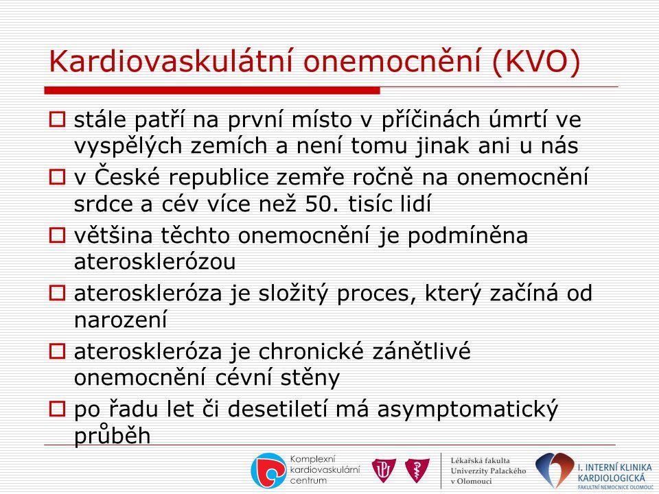 Kardiovaskulátní onemocnění (KVO)  stále patří na první místo v příčinách úmrtí ve vyspělých zemích a není tomu jinak ani u nás  v České republice z