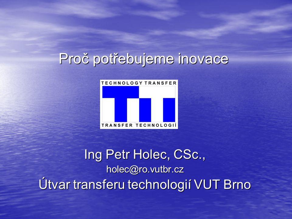 Proč potřebujeme inovace Ing Petr Holec, CSc., holec@ro.vutbr.cz Útvar transferu technologií VUT Brno