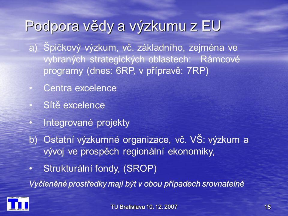 TU Bratislava 10. 12. 200715 Podpora vědy a výzkumu z EU a)Špičkový výzkum, vč. základního, zejména ve vybraných strategických oblastech: Rámcové prog