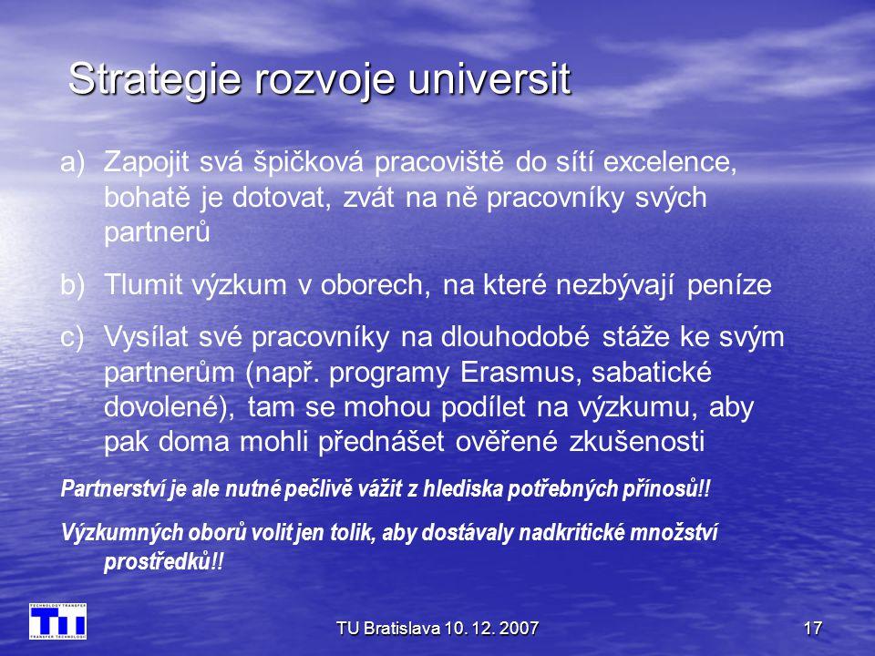 TU Bratislava 10. 12. 200717 Strategie rozvoje universit a)Zapojit svá špičková pracoviště do sítí excelence, bohatě je dotovat, zvát na ně pracovníky