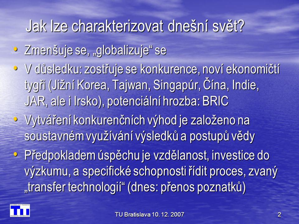 """TU Bratislava 10. 12. 20072 Jak lze charakterizovat dnešní svět? • Zmenšuje se, """"globalizuje"""" se • V důsledku: zostřuje se konkurence, noví ekonomičtí"""