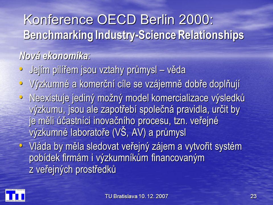 TU Bratislava 10. 12. 200723 Konference OECD Berlin 2000: Benchmarking Industry-Science Relationships Nová ekonomika : • Jejím pilířem jsou vztahy prů