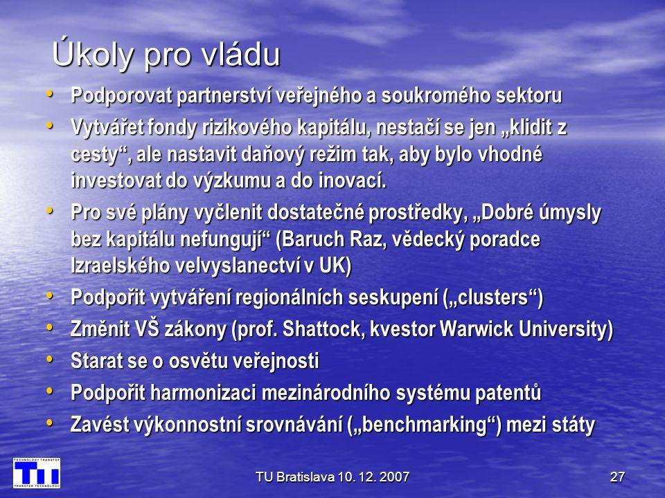 TU Bratislava 10. 12. 200727 Úkoly pro vládu • Podporovat partnerství veřejného a soukromého sektoru • Vytvářet fondy rizikového kapitálu, nestačí se