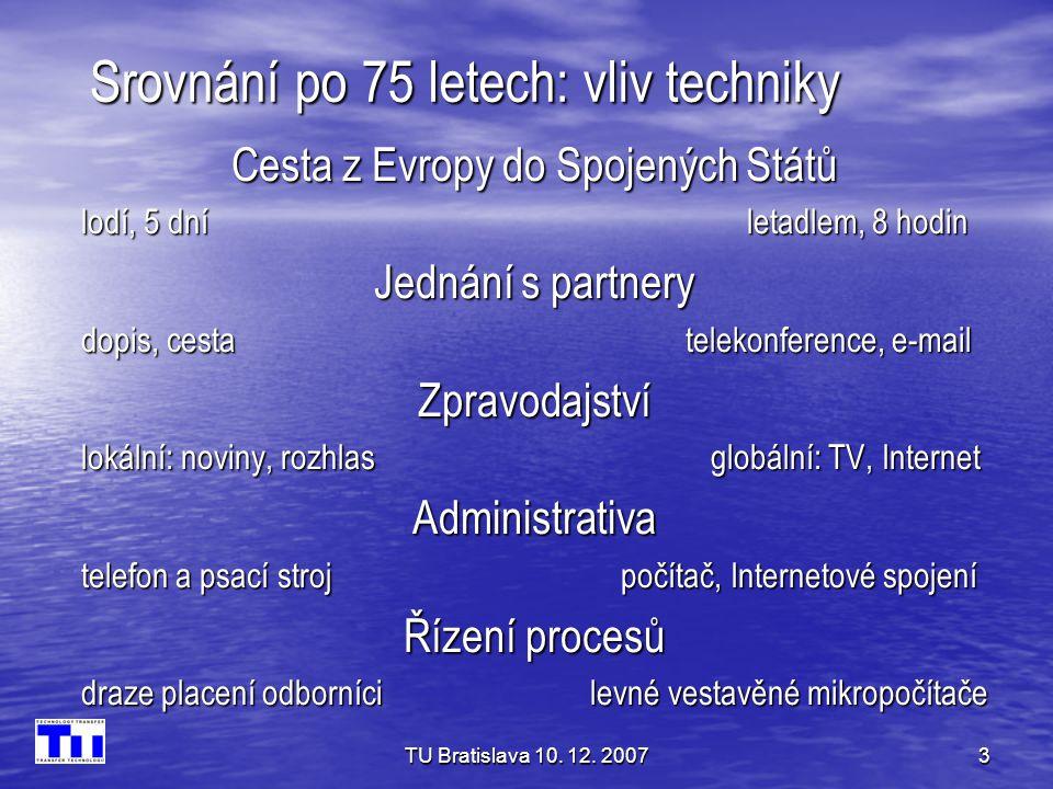 TU Bratislava 10. 12. 20073 Srovnání po 75 letech: vliv techniky Cesta z Evropy do Spojených Států lodí, 5 dní letadlem, 8 hodin Jednání s partnery do