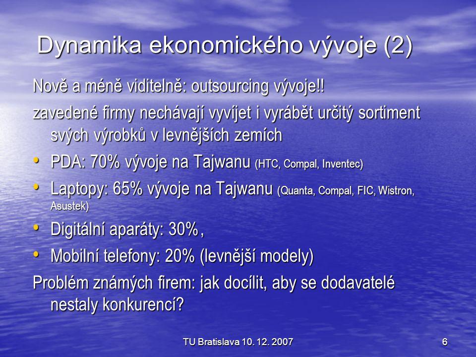 TU Bratislava 10. 12. 20076 Dynamika ekonomického vývoje (2) Nově a méně viditelně: outsourcing vývoje!! zavedené firmy nechávají vyvíjet i vyrábět ur