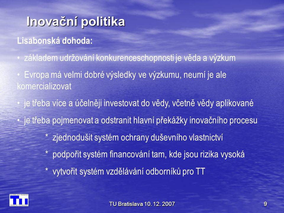 TU Bratislava 10. 12. 20079 Inovační politika Lisabonská dohoda: • základem udržování konkurenceschopnosti je věda a výzkum • Evropa má velmi dobré vý