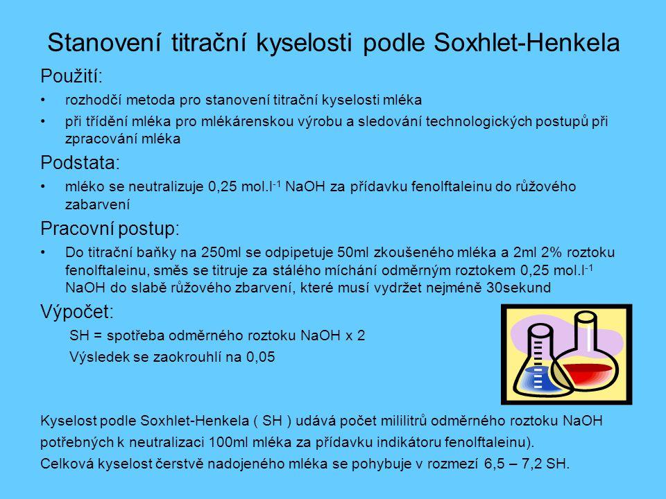Stanovení titrační kyselosti podle Soxhlet-Henkela Použití: •rozhodčí metoda pro stanovení titrační kyselosti mléka •při třídění mléka pro mlékárensko