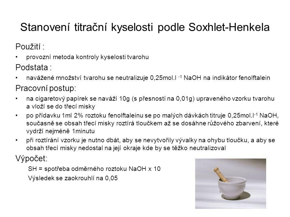 Stanovení titrační kyselosti podle Soxhlet-Henkela Použití : •provozní metoda kontroly kyselosti tvarohu Podstata : •navážené množství tvarohu se neut