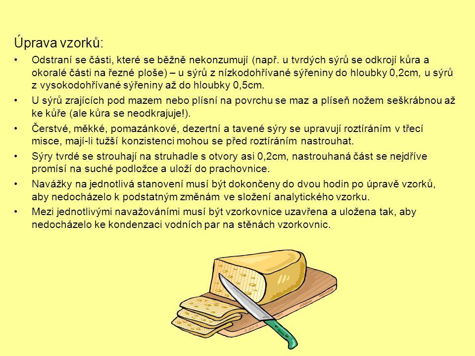 Úprava vzorků: •Odstraní se části, které se běžně nekonzumují (např. u tvrdých sýrů se odkrojí kůra a okoralé části na řezné ploše) – u sýrů z nízkodo
