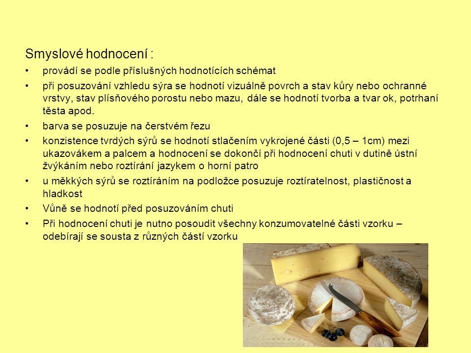 Smyslové hodnocení : •provádí se podle příslušných hodnotících schémat •při posuzování vzhledu sýra se hodnotí vizuálně povrch a stav kůry nebo ochran