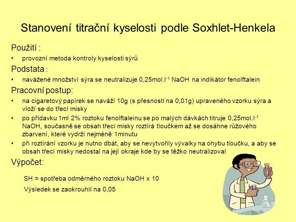 Stanovení titrační kyselosti podle Soxhlet-Henkela Použití : •provozní metoda kontroly kyselosti sýrů Podstata : •navážené množství sýra se neutralizu