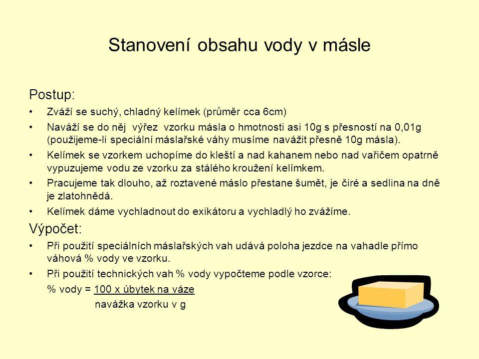 Stanovení obsahu vody v másle Postup: •Zváží se suchý, chladný kelímek (průměr cca 6cm) •Naváží se do něj výřez vzorku másla o hmotnosti asi 10g s pře