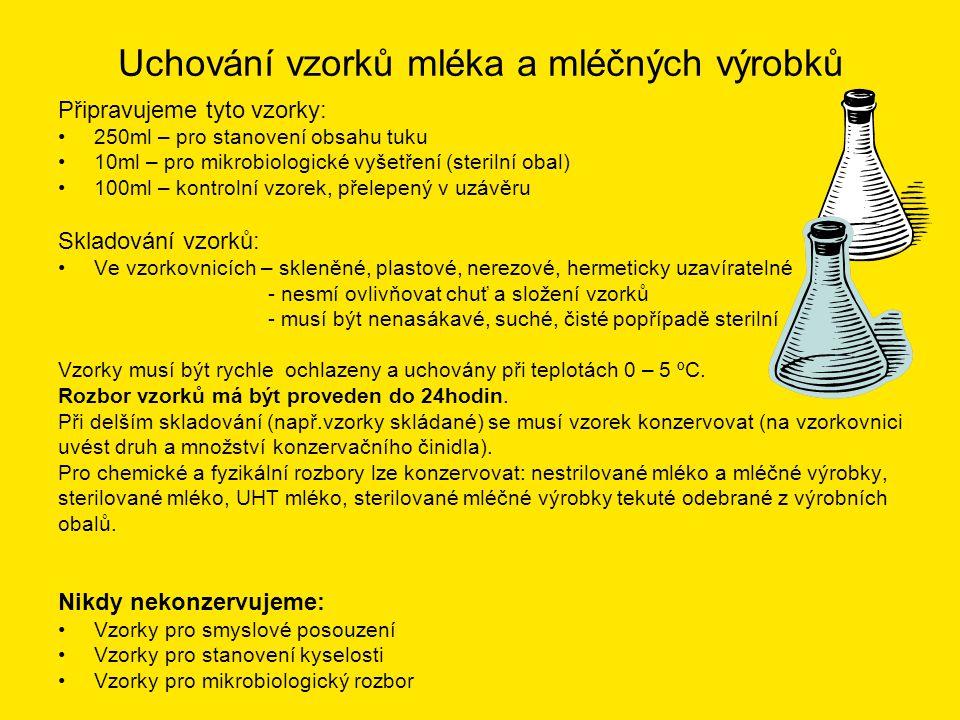 Konzervování vzorků Druh a množství konzervovadla se řídí: •dobou, po kterou je třeba vzorek udržet v nezměněném stavu •tím, k jakým zkouškám má být vzorek použit Nejčastěji používané konzervační prostředky: •Formalín (asi 40% formaldehyd CH 2 O) •Dvojchroman draselný K 2 Cr 2 O 7 (prášek nebo tablety) •Chlorid rtuťnatý HgCl 2 (tablety nebo 5% vodný roztok) – pozor PRUDKÝ JED (mléko takto konzervované je vhodné zřetelně obarvit např.