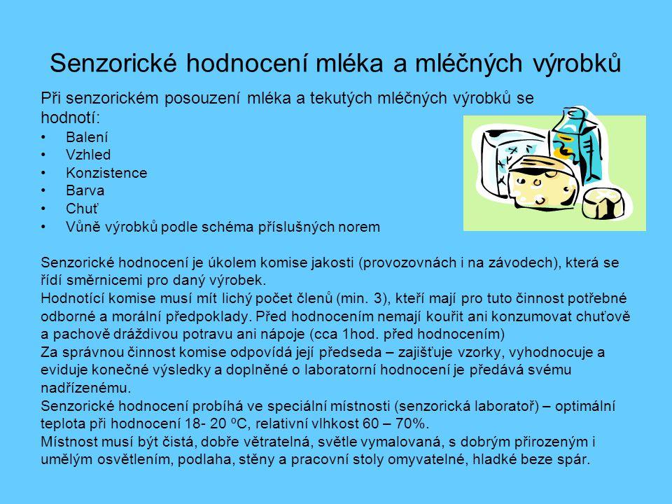 Senzorické hodnocení syrového mléka Použití: •Při posouzení jakosti mléka Pracovní postup: •Mléko zahřáté na teplotu okolo 20°C se nalije do čisté skleněné, bezbarvé nádoby a posuzuje se: 1.Vzhled (posuzuje se barva a konzistence) Barva normálního mléka – bílá až slabě nažloutlá(jiné zbarvení může být vlivem znečištění nebo onemocněním mléčné žlázy) Konzistence normálního mléka je hustší než voda (změny mohou být způsobeny onemocněním dojnic nebo působením MO Nejčastější vady: mléko slizké, hlenovité, vodnaté, vločkovité, částečně ztlučené 2.Pach Čerstvé mléko má slabě specifický pach.