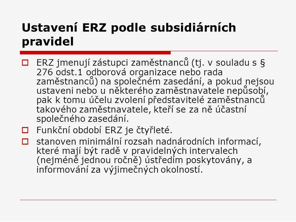 Ustavení ERZ podle subsidiárních pravidel  ERZ jmenují zástupci zaměstnanců (tj. v souladu s § 276 odst.1 odborová organizace nebo rada zaměstnanců)
