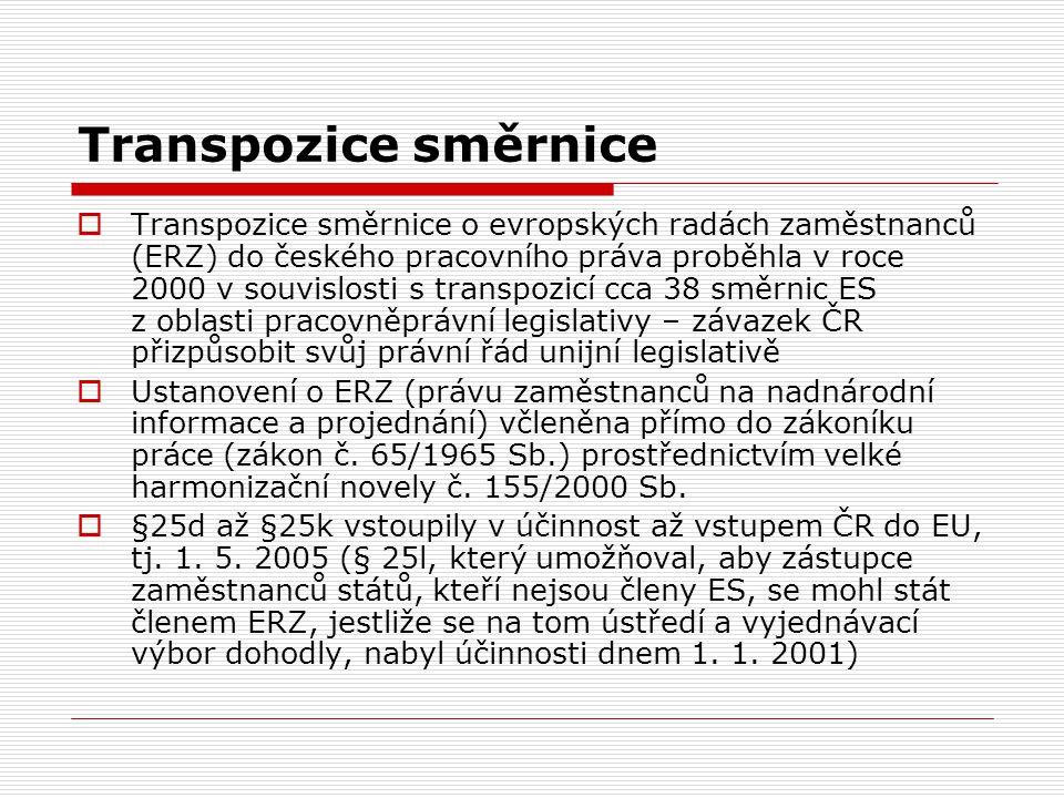 Transpozice směrnice  Transpozice směrnice o evropských radách zaměstnanců (ERZ) do českého pracovního práva proběhla v roce 2000 v souvislosti s tra