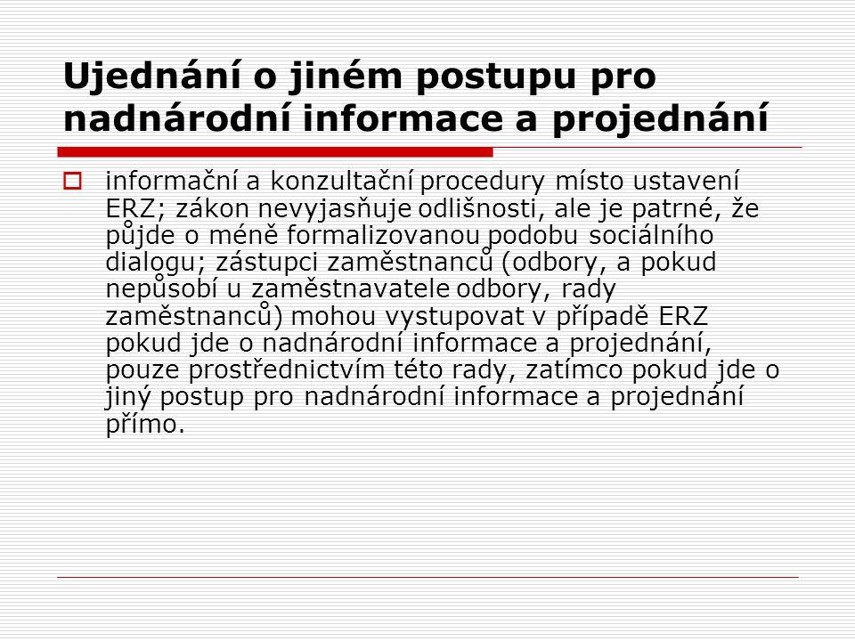 Ujednání o jiném postupu pro nadnárodní informace a projednání  informační a konzultační procedury místo ustavení ERZ; zákon nevyjasňuje odlišnosti,