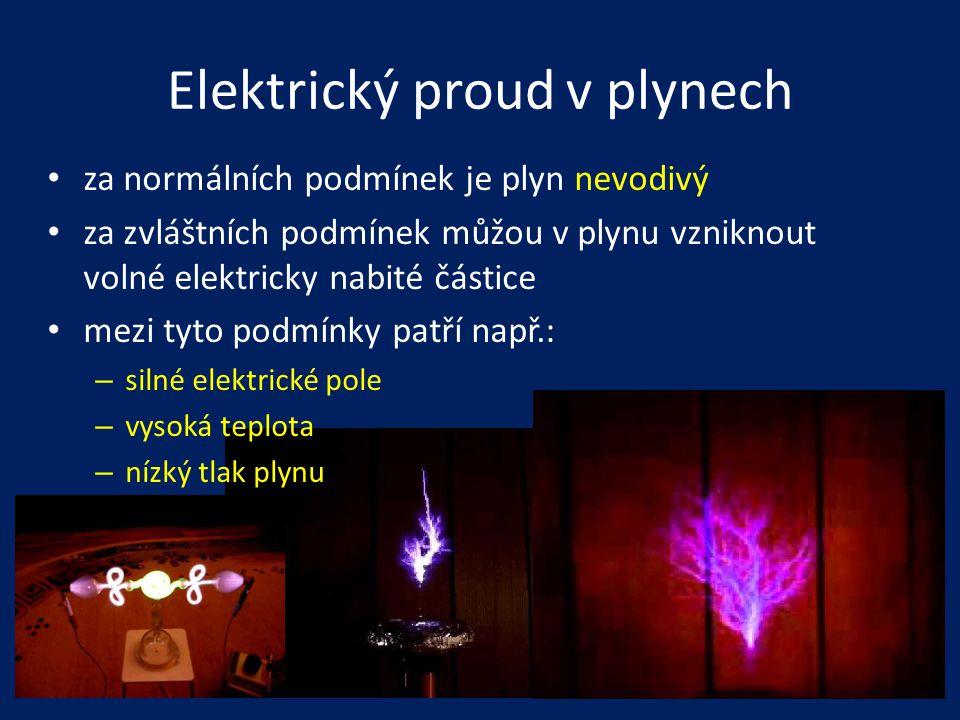 Elektrický proud v plynech • za normálních podmínek je plyn nevodivý • za zvláštních podmínek můžou v plynu vzniknout volné elektricky nabité částice