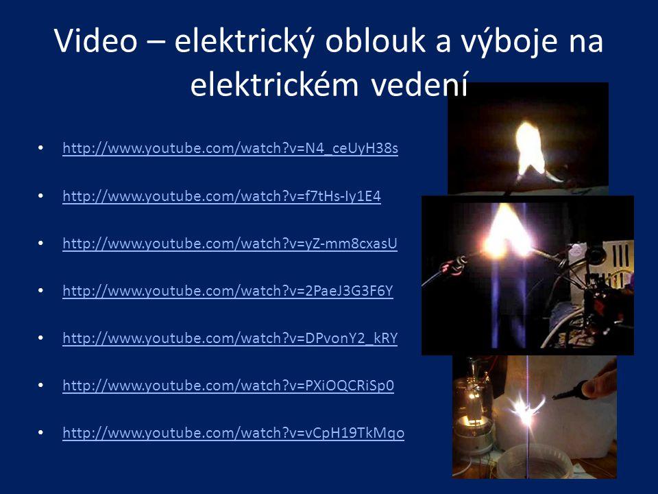 Video – elektrický oblouk a výboje na elektrickém vedení • http://www.youtube.com/watch?v=N4_ceUyH38s http://www.youtube.com/watch?v=N4_ceUyH38s • htt