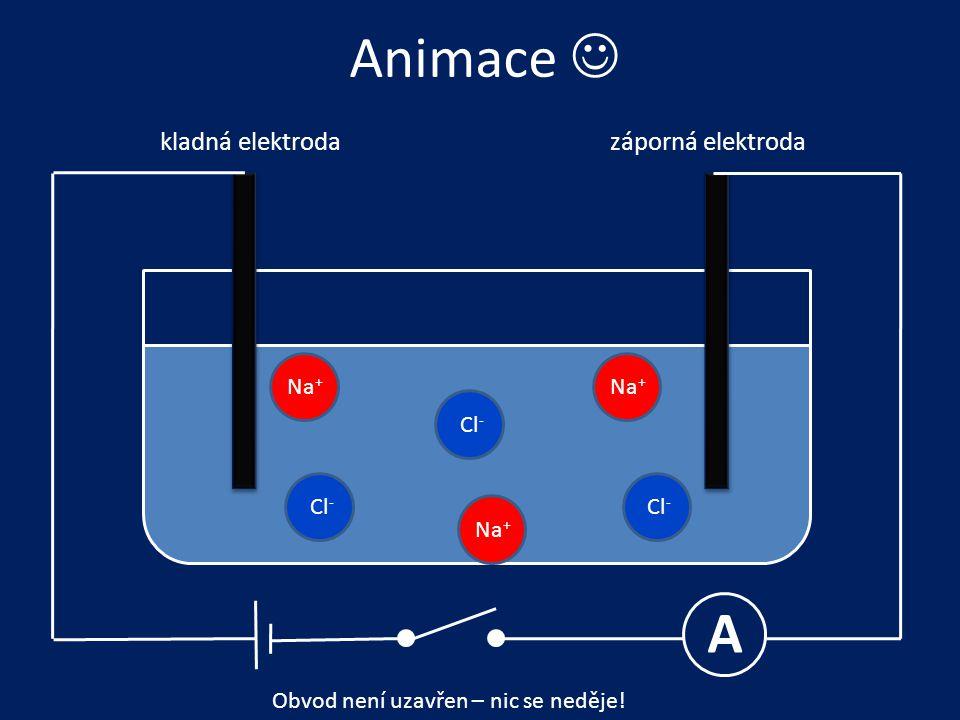 Animace  A kladná elektrodazáporná elektroda Na + Cl - Obvod není uzavřen – nic se neděje!