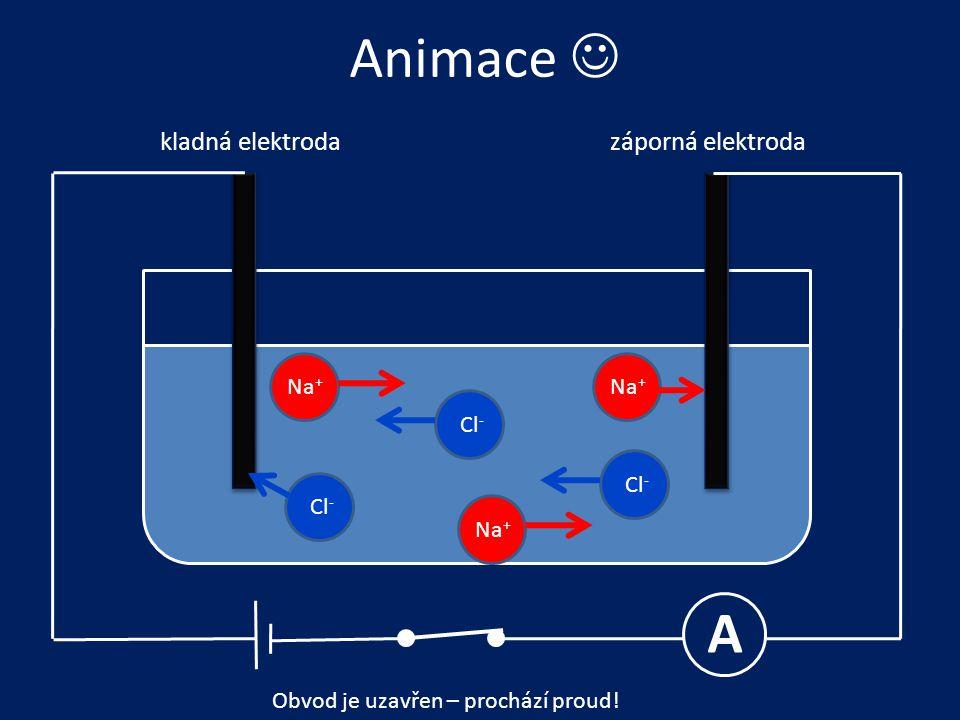 Animace  A kladná elektrodazáporná elektroda Na + Cl - Obvod je uzavřen – prochází proud!