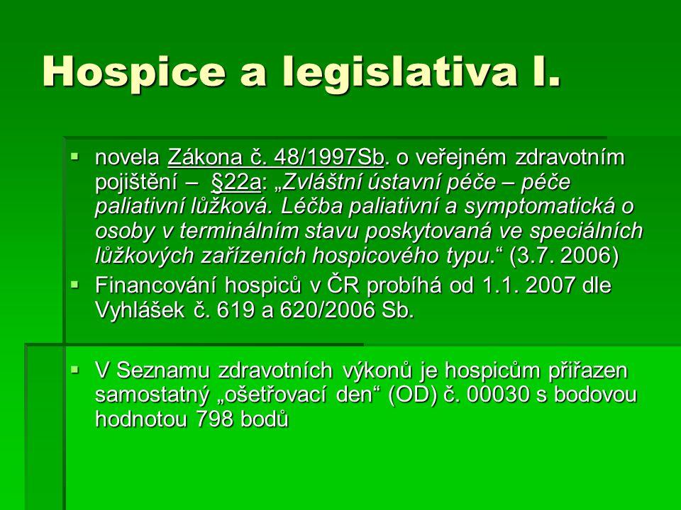 Hospice a legislativa I.  novela Zákona č. 48/1997Sb.