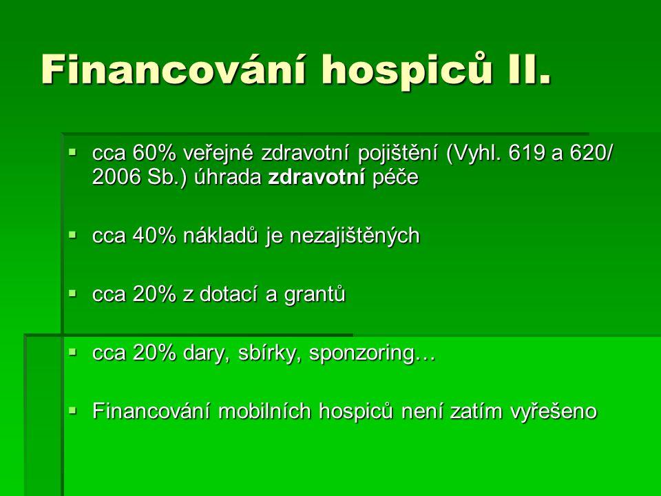 Financování hospiců II.  cca 60% veřejné zdravotní pojištění (Vyhl.