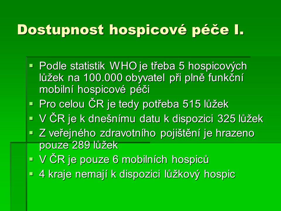 Dostupnost hospicové péče I.
