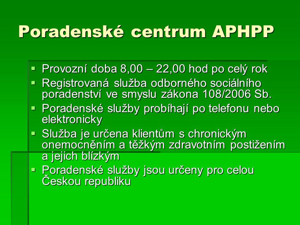 Poradenské centrum APHPP  Provozní doba 8,00 – 22,00 hod po celý rok  Registrovaná služba odborného sociálního poradenství ve smyslu zákona 108/2006 Sb.