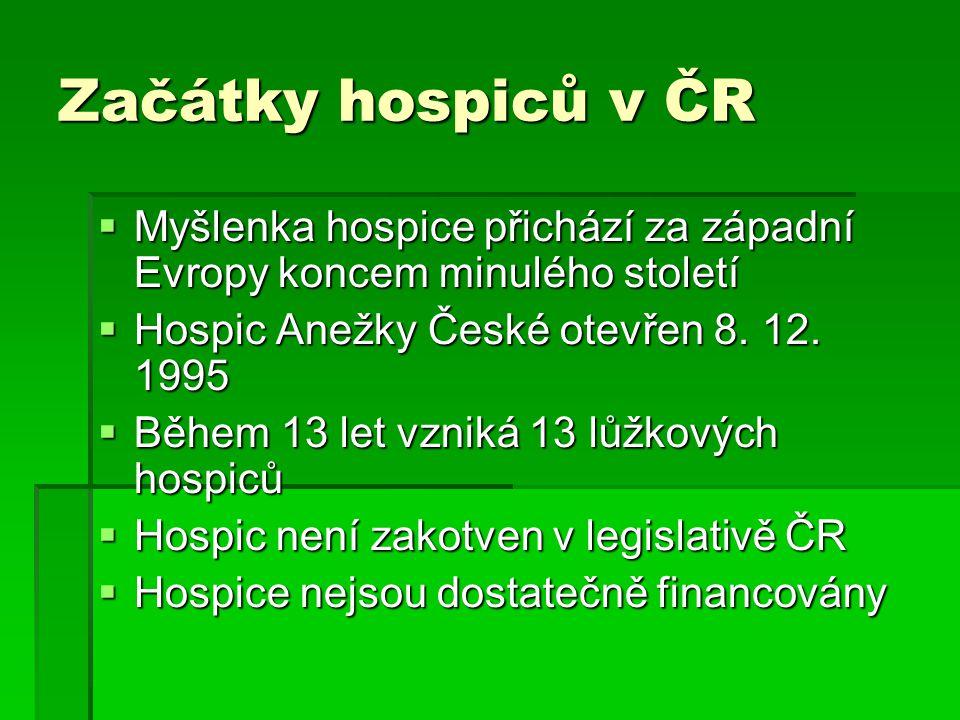 Začátky hospiců v ČR  Myšlenka hospice přichází za západní Evropy koncem minulého století  Hospic Anežky České otevřen 8.