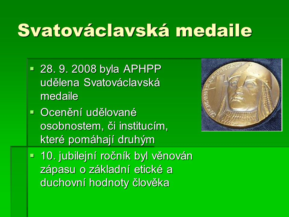 Svatováclavská medaile  28. 9.