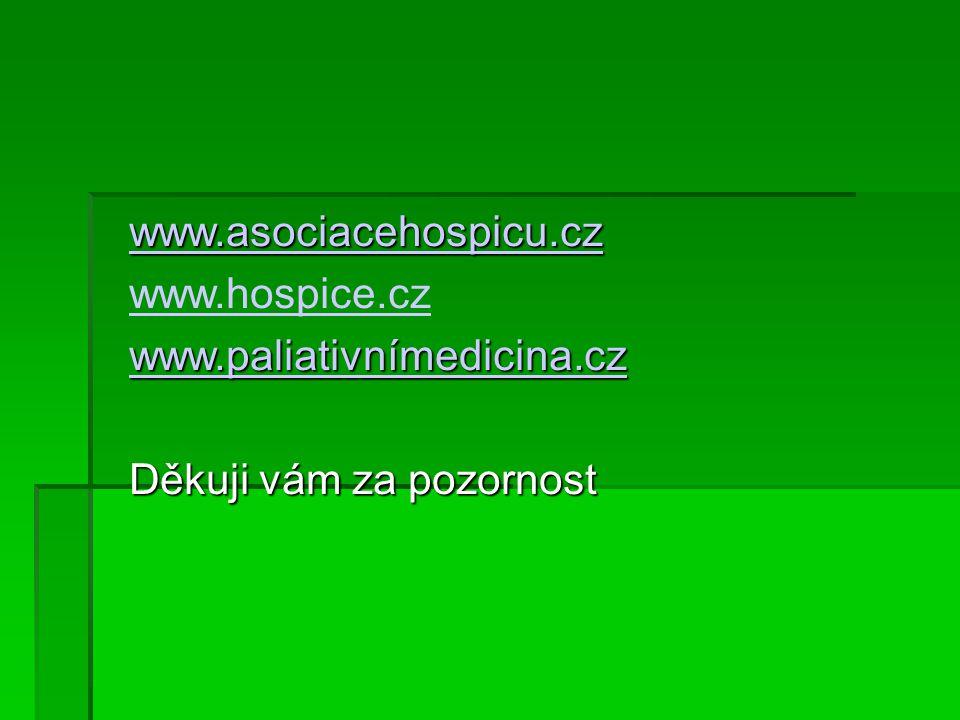 www.asociacehospicu.cz www.hospice.cz www.paliativnímedicina.cz Děkuji vám za pozornost