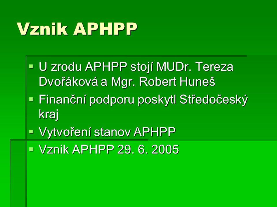 Vznik APHPP  U zrodu APHPP stojí MUDr. Tereza Dvořáková a Mgr.