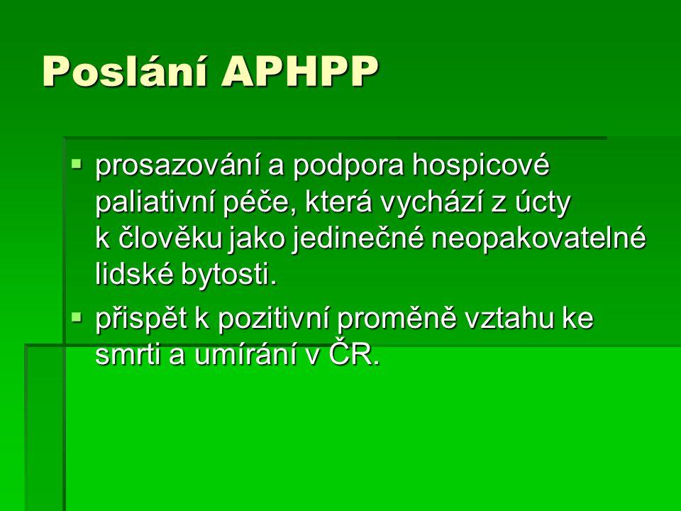 Poslání APHPP  prosazování a podpora hospicové paliativní péče, která vychází z úcty k člověku jako jedinečné neopakovatelné lidské bytosti.