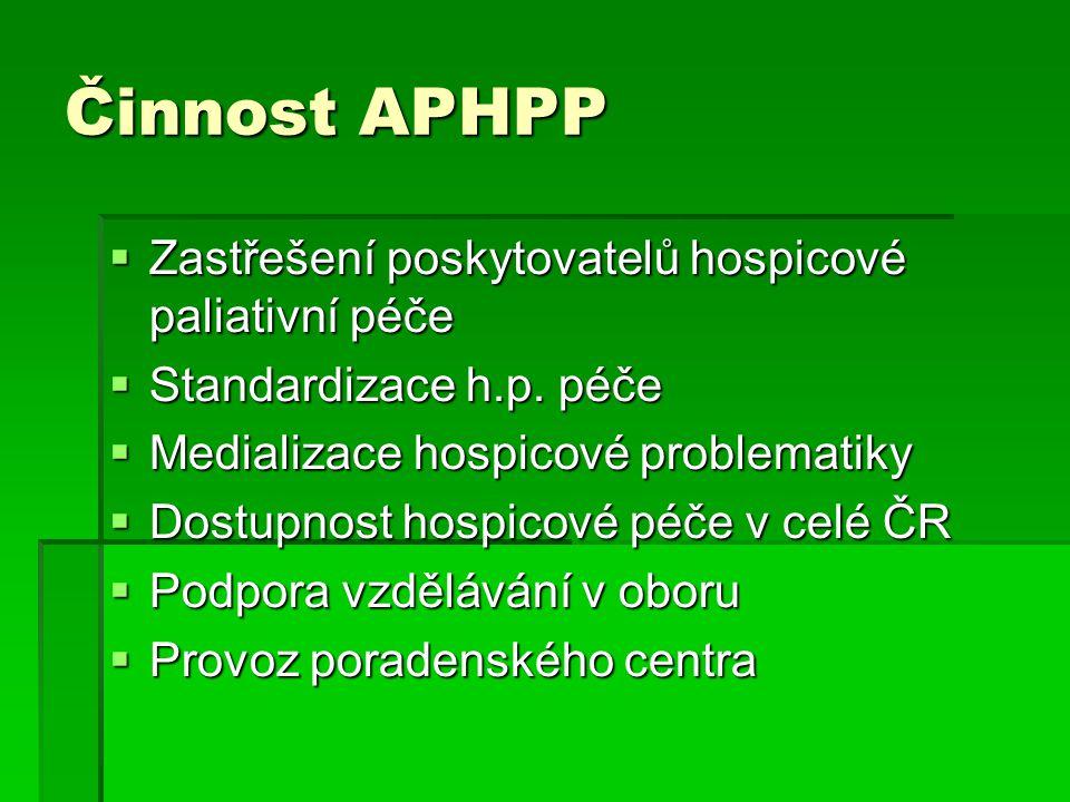 Činnost APHPP  Zastřešení poskytovatelů hospicové paliativní péče  Standardizace h.p.