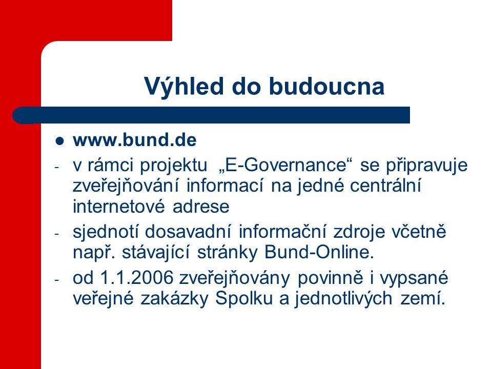 """Výhled do budoucna  www.bund.de - v rámci projektu """"E-Governance se připravuje zveřejňování informací na jedné centrální internetové adrese - sjednotí dosavadní informační zdroje včetně např."""