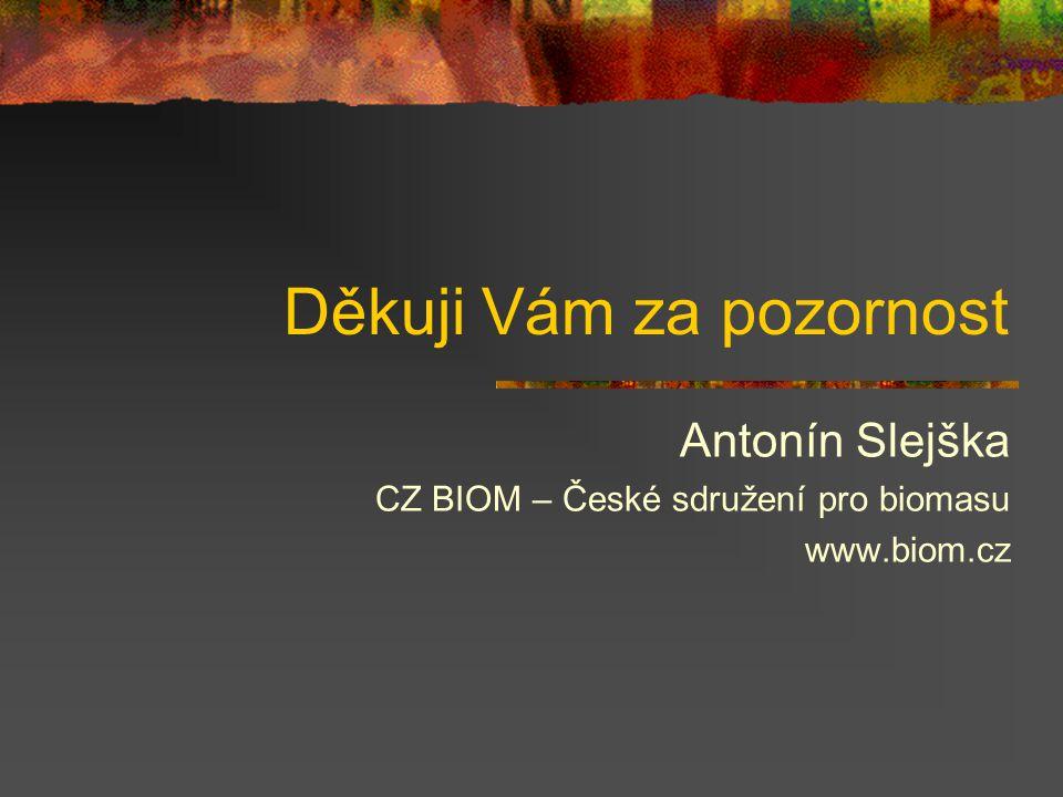 Děkuji Vám za pozornost Antonín Slejška CZ BIOM – České sdružení pro biomasu www.biom.cz