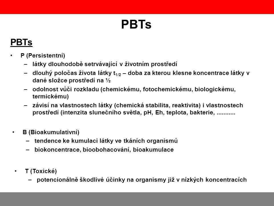 PBTs •P (Persistentní) –látky dlouhodobě setrvávající v životním prostředí –dlouhý poločas života látky t 1/2 – doba za kterou klesne koncentrace látk
