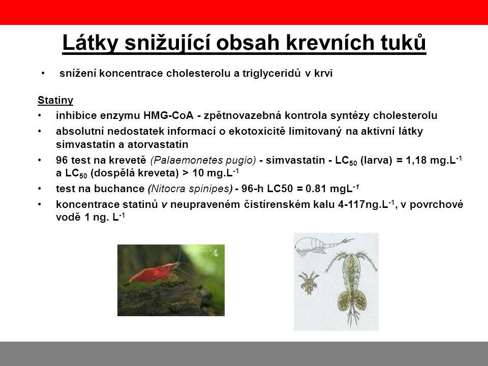 Látky snižující obsah krevních tuků •snížení koncentrace cholesterolu a triglyceridů v krvi Statiny •inhibice enzymu HMG-CoA - zpětnovazebná kontrola