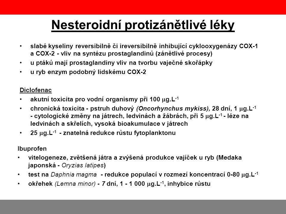 Nesteroidní protizánětlivé léky •slabé kyseliny reversibilně či ireversibilně inhibující cyklooxygenázy COX-1 a COX-2 - vliv na syntézu prostaglandinů